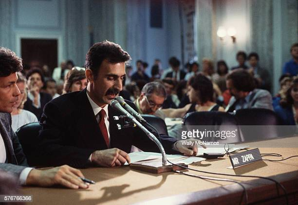 Rock musician Frank Zappa testifies before a Senate committee hearing concerning the possible government regulation of objectionable lyrics in rock...