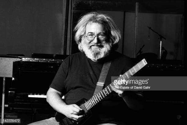 Rock musician Jerry Garcia poses for a portrait in January 1988 during a recording session in New York City New York