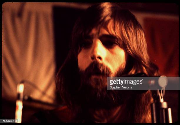 Rock musician Kenny Loggins of Loggins and Messina performs on a small stage on June 10 1972 in San Francisco California