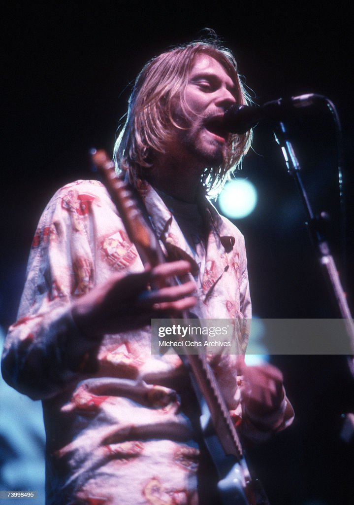Rock musician Kurt Cobain of Nirvana plays his last US concert at the Seattle Arena on January 7, 1994 in Seattle, Washington.