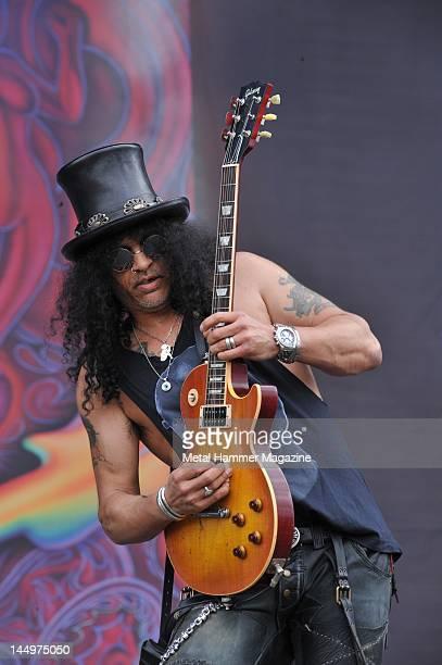 Rock musician Slash performing live on stage at Download Festival on June 13 2010 at Donington Park