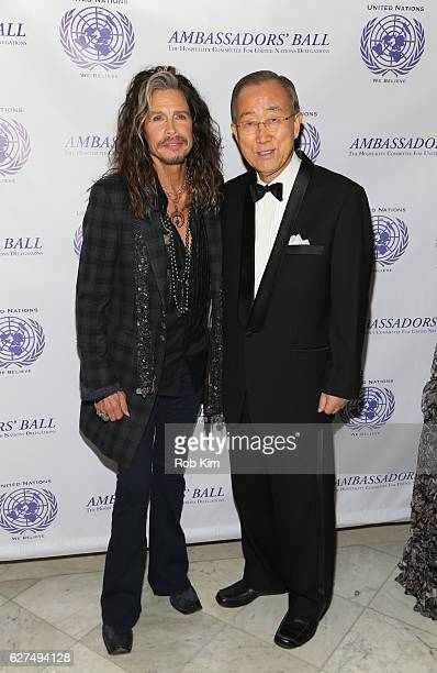 Rock musician Steven Tyler and UN Secretary-General Ban Ki-moon attend The Hospitality Committee For United Nations Delegations, Inc. Ambassadors'...