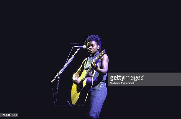 Rock musician Tracy Chapman performing during Amnesty International's Human Rights Now concert tour