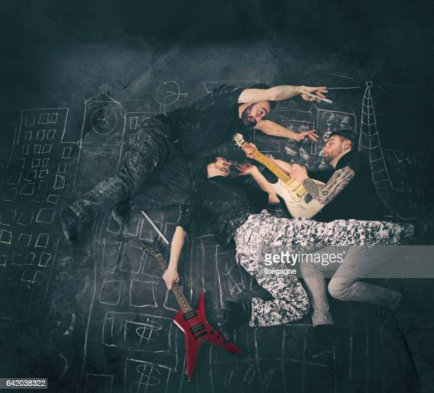 rock musicians having fun - grimes musician stock pictures, royalty-free photos & images