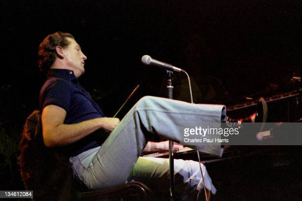 Rock 'n' Roll artist Jerry Lee Lewis performs at the Rainbow Theatre on November 19 1979 in London England