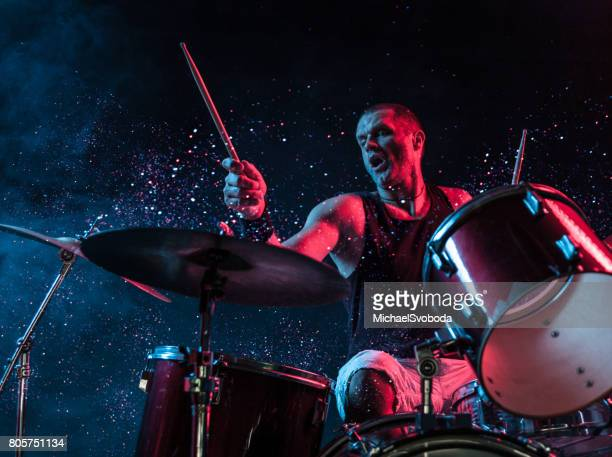 Rock N Roll Drummer Sparkles In The Air