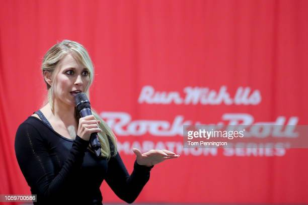 Rock 'n' Roll Marathon race announcer Ann Wessling leads a press conference at the Rock 'n' Roll Las Vegas Expo held in the Las Vegas Convention...