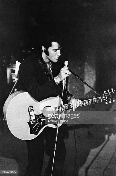 Rock 'n' roll singer and actor Elvis Presley performs at the Las Vegas International Hotel August 1969
