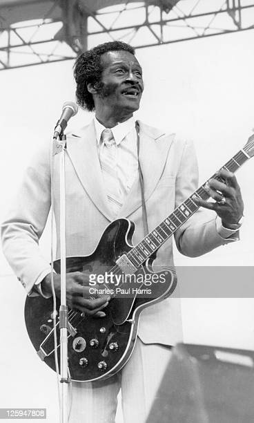 Rock 'n' roll star Chuck Berry performs live at the Alexandra Palace during the Capital Radio Jazzfest on July 21 1979 in London England