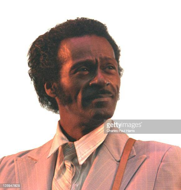 Rock 'n' roll star Chuck Berry performs live at the Alexandra Palace during the Capital Radio Jazzfest, on July 21, 1979 in London, England.