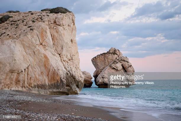 rock of aphrodite, paphos, cyprus - パフォス ストックフォトと画像
