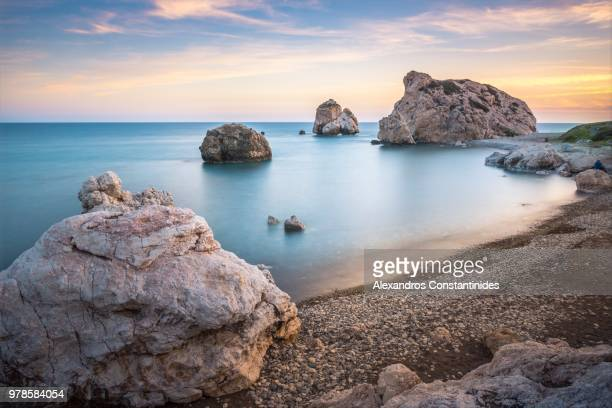 rock of aphrodite - republic of cyprus stock pictures, royalty-free photos & images