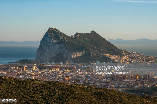 rock of gibraltar viewed from spain - rock of gibraltar stock photos and pictures