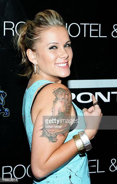 Rock of Love's Brandi M arrives at a concert by rapper 50 Cent poolside at The Hard Rock Hotel and Casino on September 8 2007 in Las Vegas Nevada