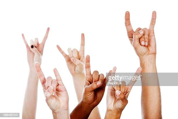 rock on! multiracial devil horns hand sign - devil stock pictures, royalty-free photos & images