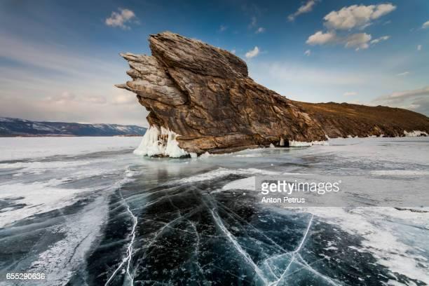 Rock on Ogoy island. Baikal