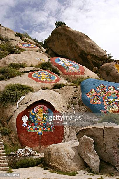 Rock Painting at Sera Monastery Tibetan paintings such as rock paintings tangka paintings and Buddhist script prints are closely related to religion...