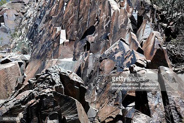 rock painting of palaeolithic age - arman zhenikeyev stock pictures, royalty-free photos & images
