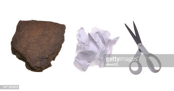 jeu papier pierre ciseaux - rock object photos et images de collection