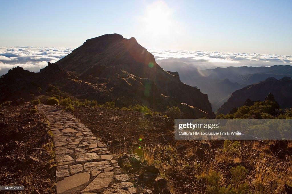 Rock pathway in rural hills : Stock Photo