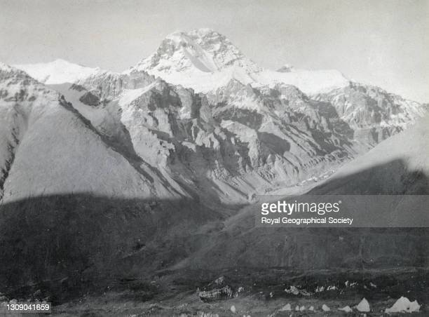 Rock Peak north east of snout of East Rongbuk Glacier. By George Leigh Mallory. Mount Everest Expedition 1921.