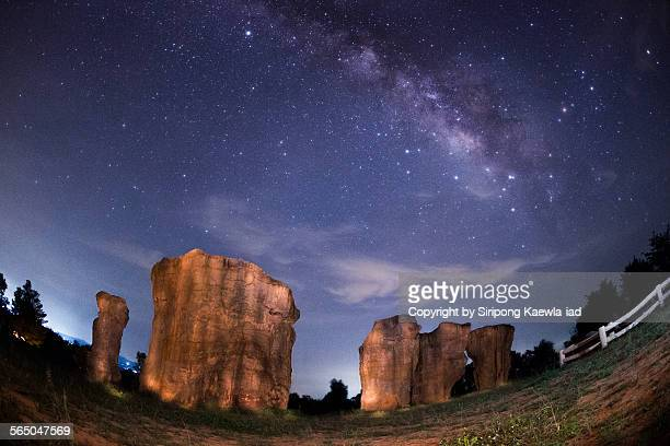 Rock pillars with the Milky Way