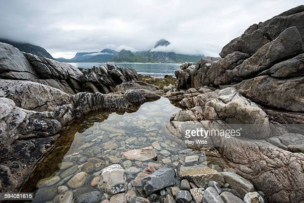 Rock pool and mountain view