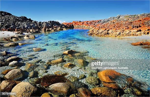 Rock pools at Binnalong bay, east coast of Tasmania, Australia