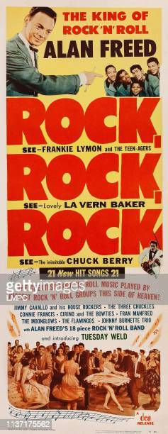 Alan Freed Frankie Lymon and the Teenagers center lower right Chuck Berry on insert poster art 1956