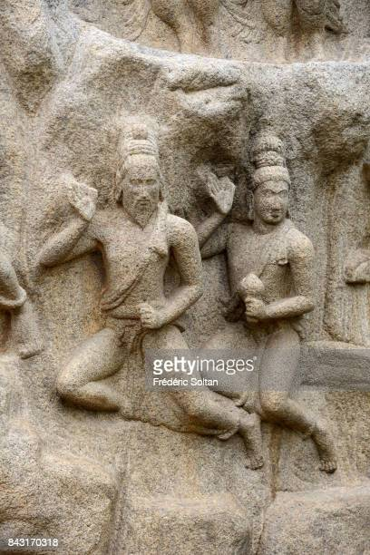 Rock reliefs in Mahabalipuram Rock reliefs of the Descent of the Ganges is one of the largest openair basreliefs in the monument complex of...