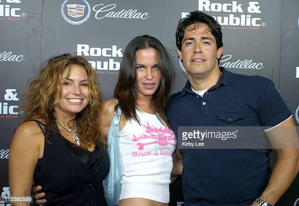 Rock Republic owner Andrea Bernholtz and designer Michael Ball with Elisa Benini