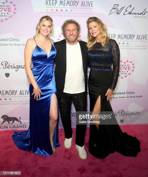 Rock & Roll Hall of Fame inductee Sammy Hagar poses with his daughter Samantha Hagar and his wife Kari Hagar during the 24th annual Keep Memory Alive...