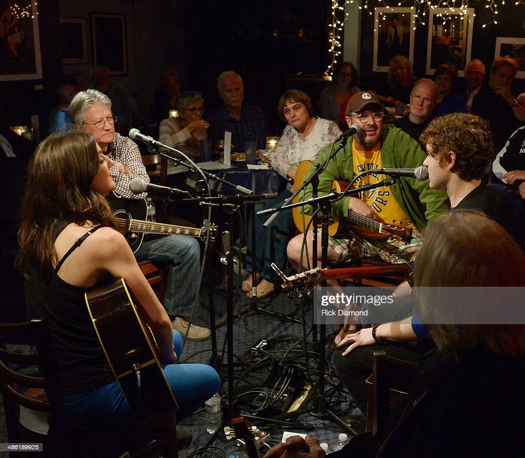 Rock & Roll Hall of Fame member Richie Furay, Grand Ole Opry member Vince Gill perform, Justin Davis and Sarah Zimmermann of Striking Matches in the round during the SoundExchange Influencers Series launch at Bluebird Cafe on April 22, 2014 in Nashville, Tennessee.
