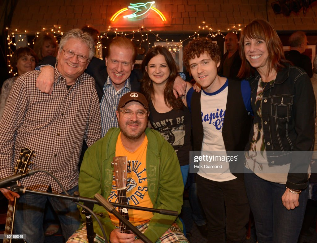 Rock & Roll Hall of Fame member Richie Furay, SoundExchange CEO Michael Huppe, Sarah Zimmermann & Justin Davis of Striking Matches with COO President BlueBird Cafe Erika Wollam-Nichols and Grand Ole Opry member Vince Gill (sitting) during the SoundExchange Influencers Series launch at Bluebird Cafe on April 22, 2014 in Nashville, Tennessee.