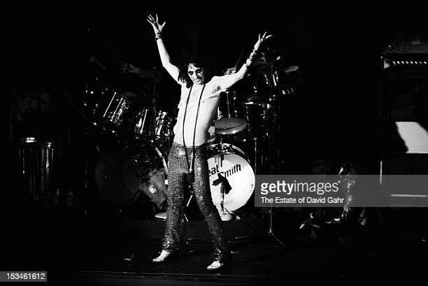 Rock singer Alice Cooper performs in November 1972 at Hofstra University in New York City New York