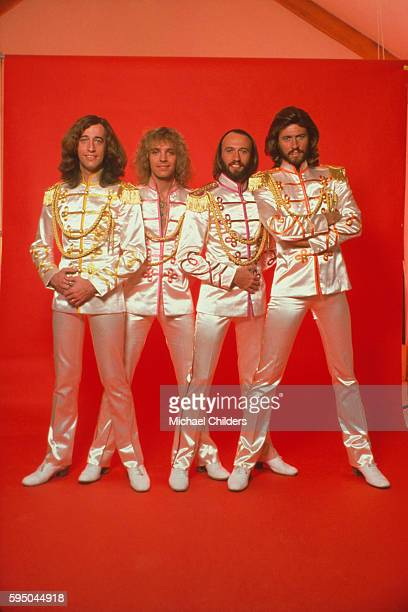 Rock singer and guitarist Peter Frampton and British brothers Barry Robin and Maurice Gibb from disco band The Bee Gees on the set of Sergent...