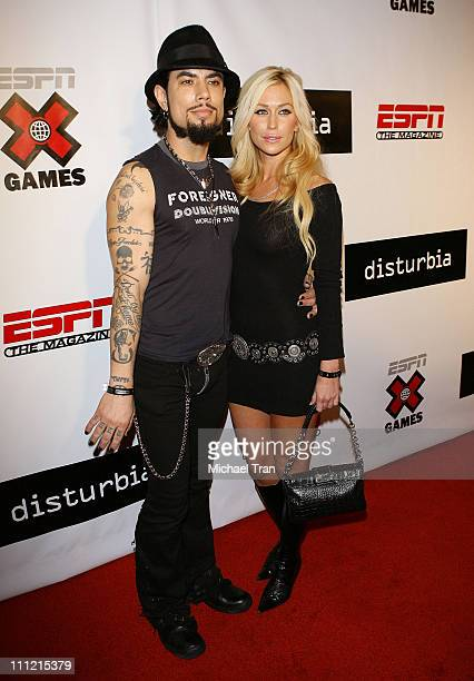 Rock singer Dave Navarro and Actress Nicole Bennett arrives at the Disturbia DVD release party at The Standard Hotel on August 2 2007 in Los Angeles...