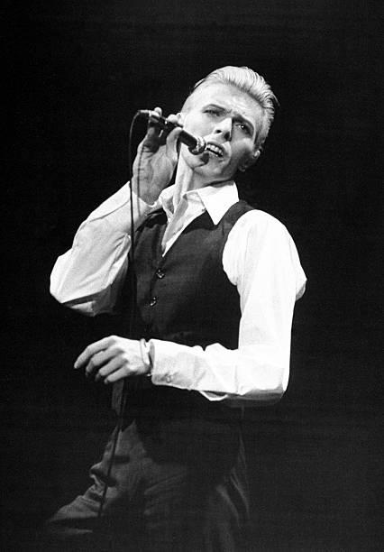 Rock singer David Bowie in concert at Madison Square Garden.