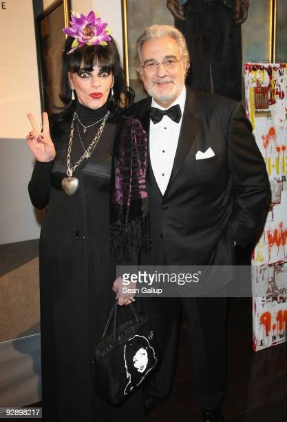 Rock singer Nina Hagen and opera singer Placido Domingo attend the Free Your Mind Award Presentation at the Cinema For Peace charity dinner at the...