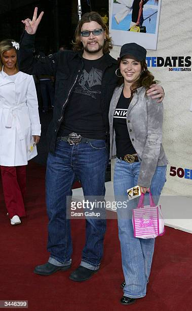"""Rock singer Reamonn, also called Rea Garvey, and friend Josephine attend the German premiere of """"50 First Dates"""" at the CineStar theatre at Potsdamer..."""