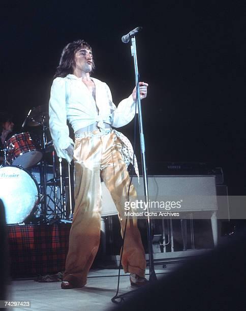 Rock singer Rod Stewart performs onstage in circa 1973
