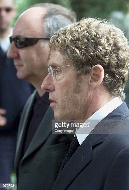 Rock singer Roger Daltrey arrives for John Entwistle's funeral service at St Edwards Church July 10 2002 in StowontheWold United Kingdom Entwistle...
