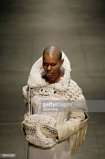 Rock singer Skin poses on the catwalk during the Fashion East show at London Fashion Week February 13 2008 London Fashion Week is now established as...