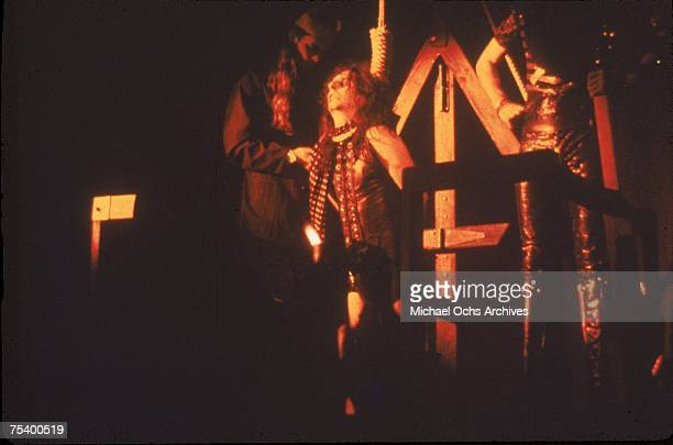 Rock star Alice Cooper with a noose around his neck for his outrageous stage show in July 1972 in Los Angeles California