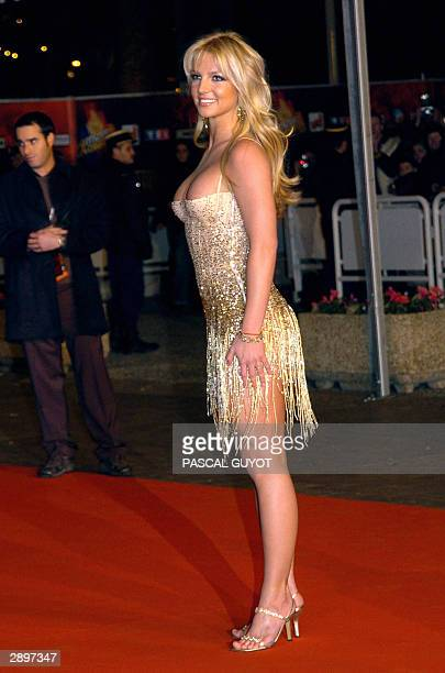 US rock star Britney Spears arrives 24 January 2004 at Cannes' Palais des Festivals for France's annual NRJ music awards The awards are held as the...
