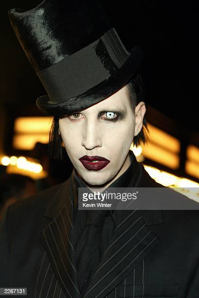 Rock star Marilyn Manson arrives at a screening of Final Flight of the Osiris a CG animated short and a party to celebrate the debut of the new video...