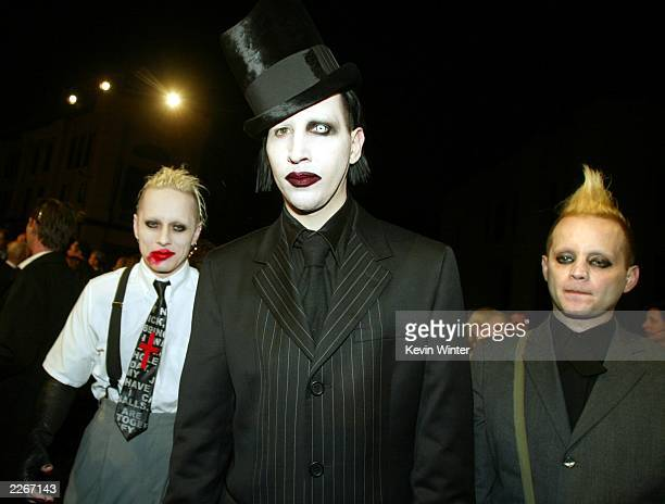 Rock star Marilyn Manson with his band Tim Skold and Pogo arrive at a screening of Final Flight of the Osiris a CG animated short and a party to...