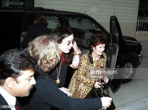 Rock star Ozzy Osbourne and his wife Sharon Osbourne arrive at the CNN studios for an interview on the CNN show Larry King Live on March 3 2003 in...