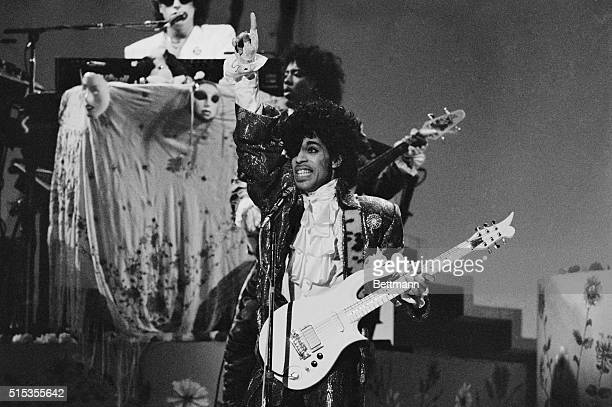 Rock star Prince performs during the American Music Awards in Los Angeles at the Shrine Auditorium in 1985 Prince led all contenders with eight...