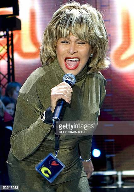 US rock star Tina Turner performs on stage at Parken Stadium in Copenhagen 01 April 2005 Tomorrow she will be part of the Hans Christian Andersen...
